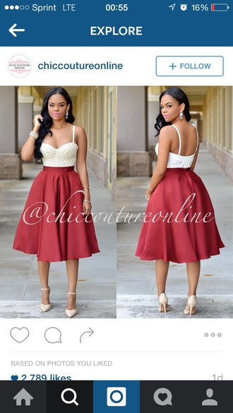 bustier midi skirt pearl red skirt flare skirt formal