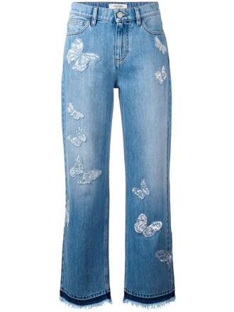jeans boyfriend jeans women butterfly boyfriend cotton blue