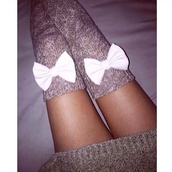 sweater,ariana grande,socks,bows,cute,girly,style,brown knee high socks with white bow.,bow,black bow socks,grey,cute outfits,outfit,fall outfits,winter outfits