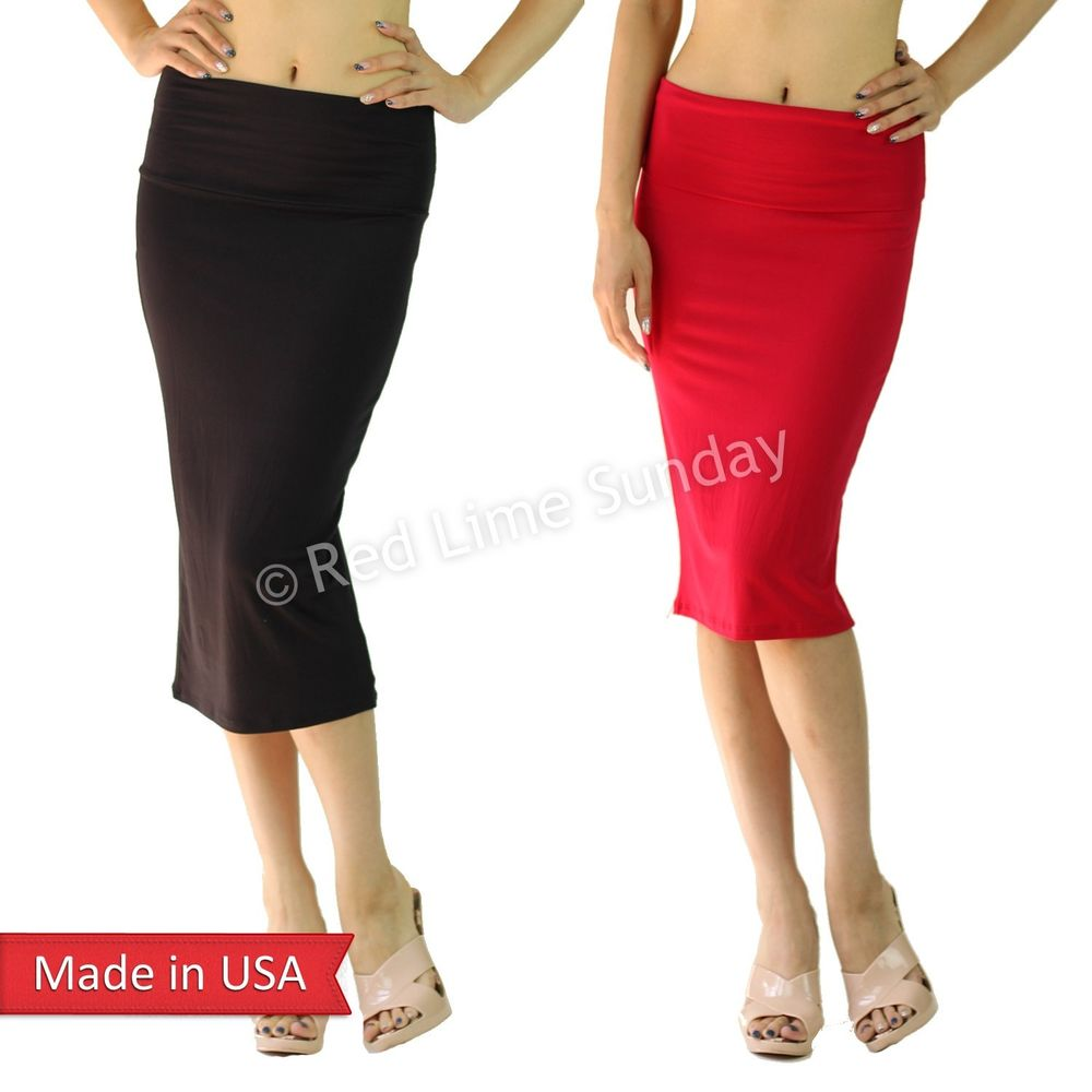 New Solid Color Straight Below Knee Jersey Cotton Feel Bodycon Pencil Skirt Plus