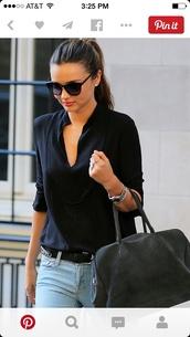 blouse,miranda kerr,top,black top,chic