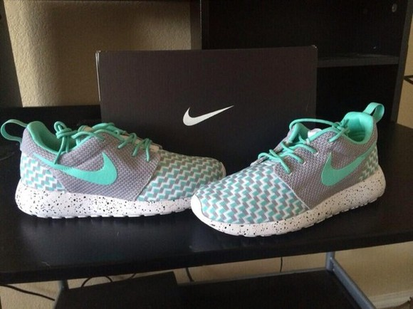 shoes mint green grey nike roshe run runner track basketball shorts love shoe idk nike, roshes, tiffany, mint, fashion, running shoes, nike roshe run nike blue grey