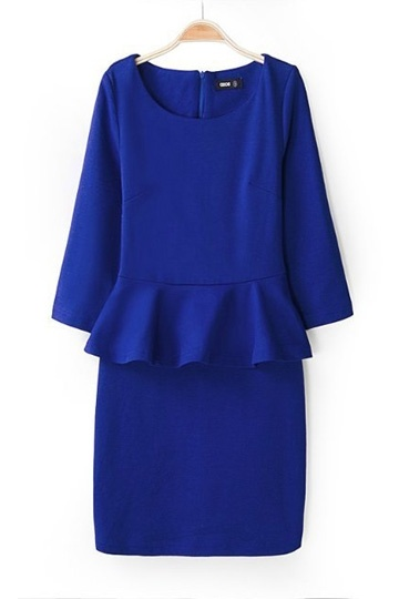 Slim Waist Flouncing Hem Dress In Blue [SHWM00051] - PersunMall.com