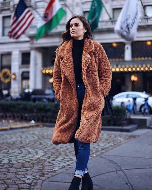 175839b108d coat tumblr teddy bear coat camel coat camel fuzzy coat camel fluffy coat  denim jeans blue