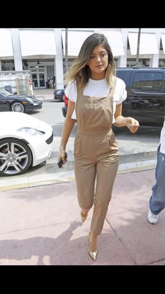 jumpsuit khaki overalls celebrity