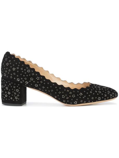 Chloe women pumps leather suede black shoes
