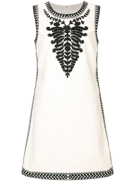 Tory Burch dress embroidered women white cotton