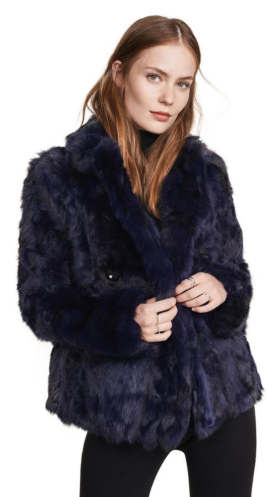 Adrienne Landau Textured Rabbit Pea Coat in navy