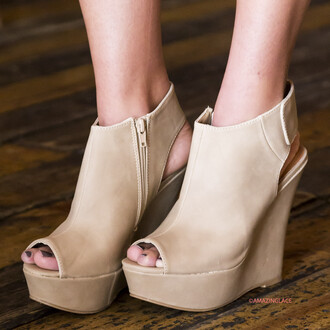 shoes wedges heels high heels amazinglace taupe nude open toe nude wedges