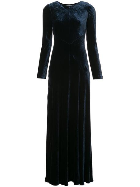Alberta Ferretti gown long women blue silk velvet dress