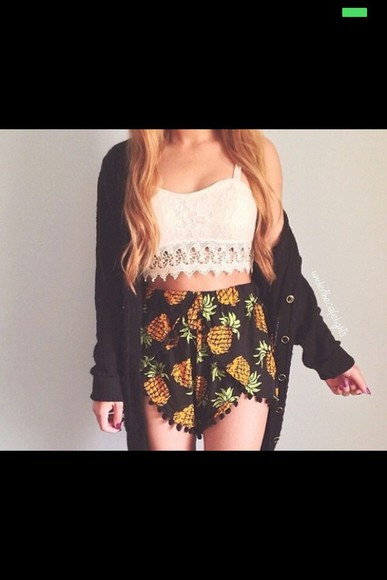 tank top white shorts jacket white lace top pineapple print streetwear grunge clothes blonde hair top pineapple white crop tops white lace croptop white lace tank top black pom pom shorts festival