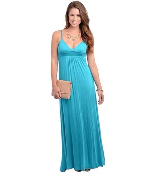 Dress: teal, blue, maxi, boho, hippie, vintage, long, beach ...