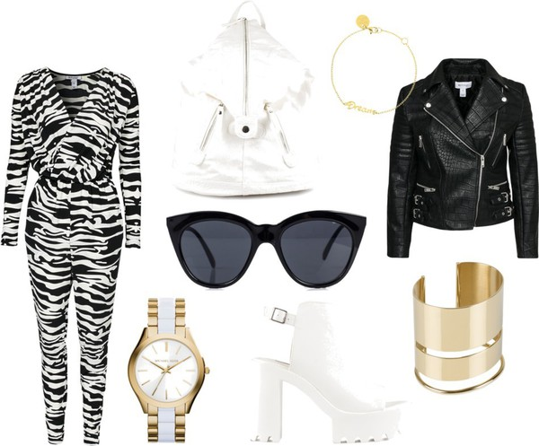 kenza blogger jumpsuit bag sunglasses jewels shoes jacket
