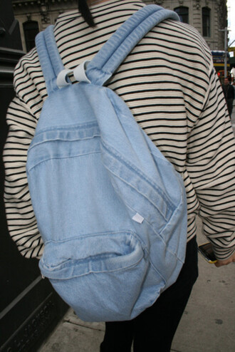 jacket stripes black white jeans backpack tumblr bag blue bag jeans bag pls help me guys baby blue