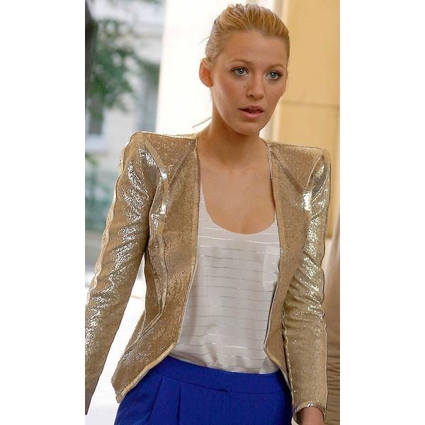 Serena van der woodsen in paris wearing a gold emilio pucci jacket, 2010