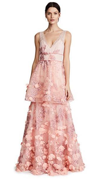 Marchesa Notte gown sleeveless blush dress