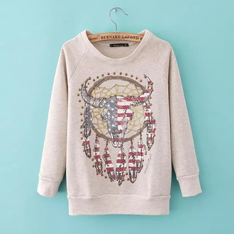 sweatshirt hoodie american flag bull print top feathers long sleeves