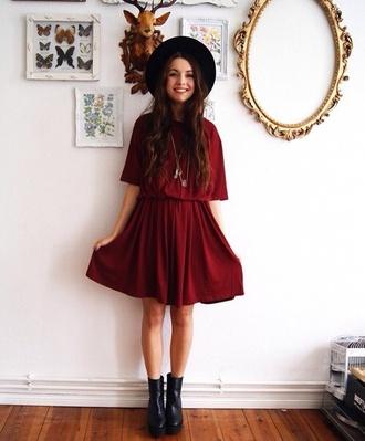 shoes red dress indie black hat black boots girl indie dress