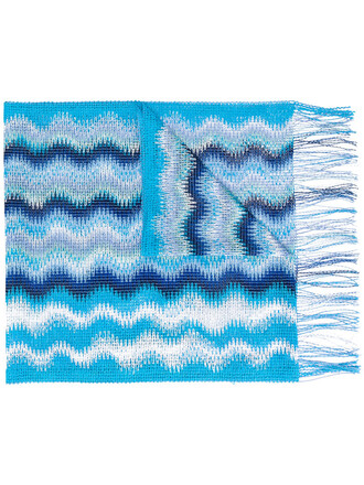 women scarf blue knit crochet