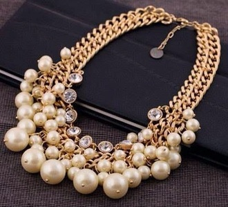jewels necklace pearl gold chain