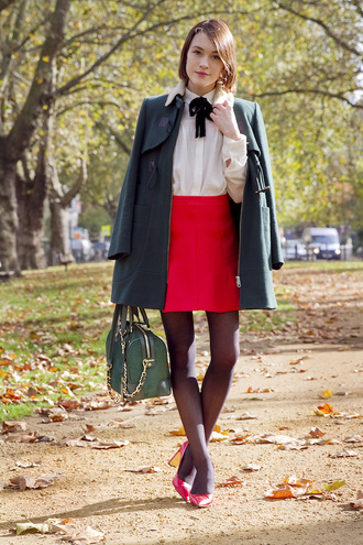 bag red shoes blouse blogger la petite anglaise red skirt duffle coat back to school