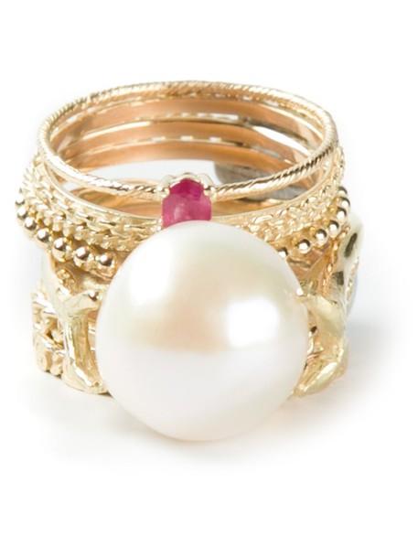 Wouters & Hendrix Gold women pearl gold grey metallic jewels