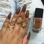 nail polish,brown,chocolate,matte nail polish,nails,coffin nails,acrylic nails