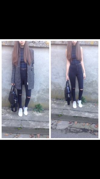 shirt girl shirts checked shirt black t-shirt crop tops coat jeans bag shoes