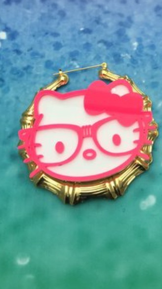 jewels earrings hello kitty hoop earrings statement earrings big earrings bamboo earring
