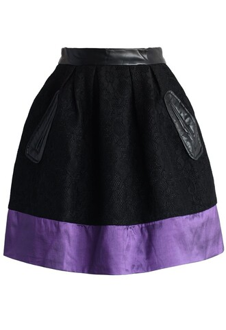 skirt chicwish purple ribbon trimmed skirt black tulip skirt fashion and chic