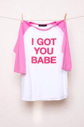 shirt,pink,babe,raglan,chipchop