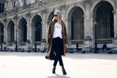 oracle fox,blogger,balmain,white t-shirt,long coat,black heels,coat,shirt,pants,bag,shoes,sunglasses,jewels