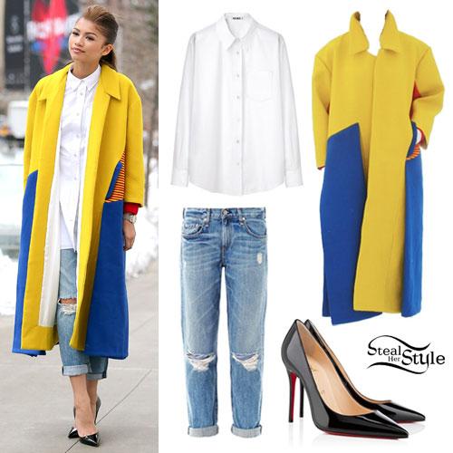 Zendaya: blue & yellow colorblock coat