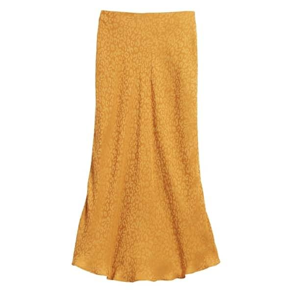 Banana Republic Women's Leopard Midi Slip Skirt Marigold Yellow Leopard Regular Size L