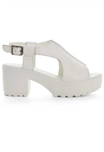 White Leather Cut Out Peep Toe Sandals - Retro, Indie and Unique Fashion