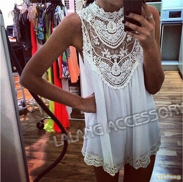 2014 Hot Selling White Women Sleeveless Lace Dresses Hollow Out Flower Mini Dress Loose Casual Sexy Short Dress 851461-in Dresses from Apparel & Accessories on Aliexpress.com