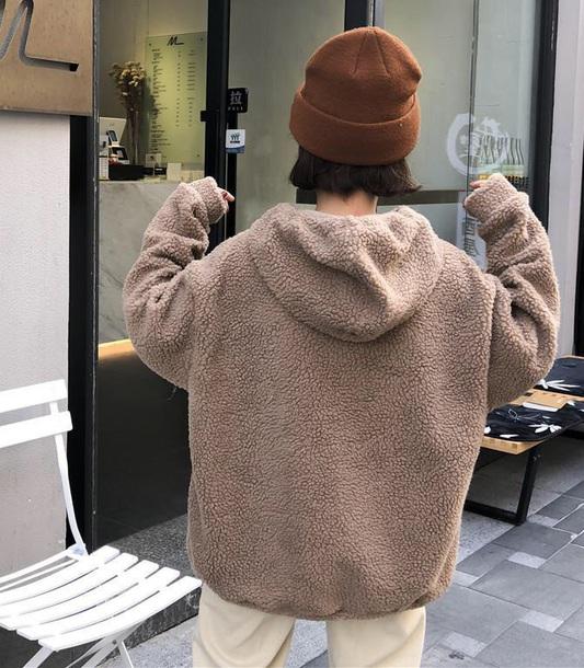 jacket girly fur fur coat fur jacket oversized brown hoodie teddy bear teddy teddy bear coat