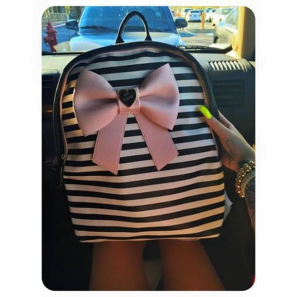 18d7674658b bag, pink, black and white, stripes, bows, backpack - Wheretoget