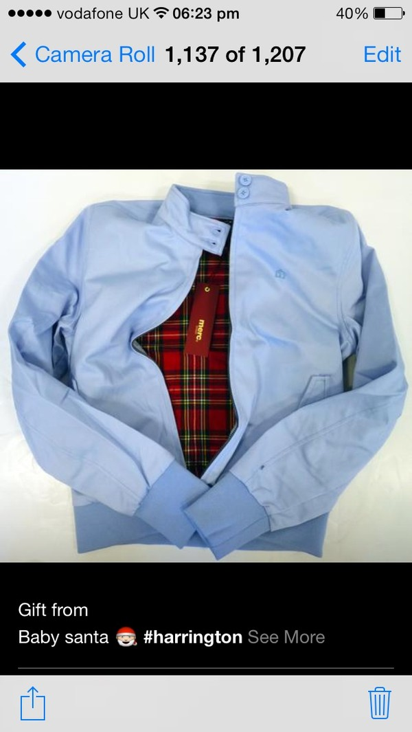 jacket sky blue harrington red black baby baby blue christmas