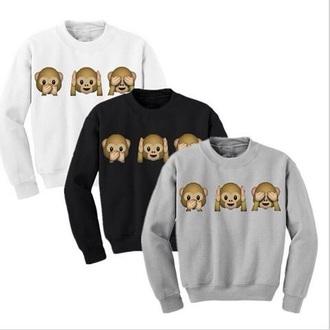 sweater 3d sweatshirts sweatshirt monkey emoji emoji print winter sweater