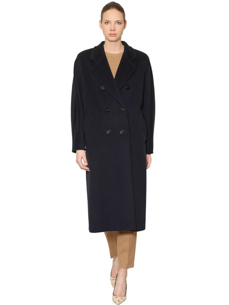 MAX MARA Madame Double Breasted Wool Long Coat in black