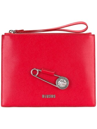 oversized metal women clutch leather red bag