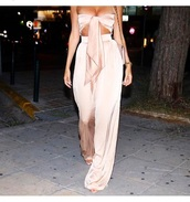 jumpsuit,silk,pants,pant set,satin,satin pants,wide-leg pants,boho pants,pastel,pastel pink,strapless,knotted set,high waisted,high waisted pants,bandeau,party,party outfits,date outfit,date night clothes,style,style me,pink