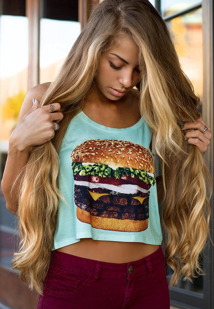 Triple Burger Crop Top - Fresh-tops.com