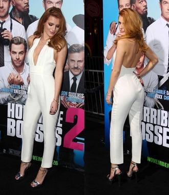 jumpsuit pants white bella thorne sandals wedges high heels