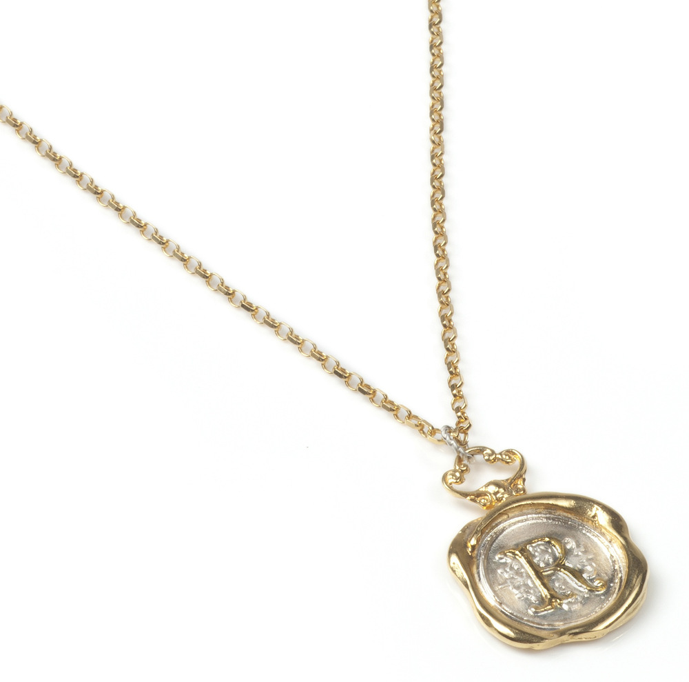 Personalised Gold Wax Seal Necklace | Jessica de Lotz Jewellery