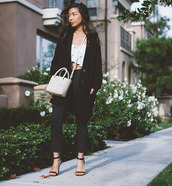 honey n silk,blogger,sandals,black jeans,knitted cardigan,coat,top,jeans,bag,shoes