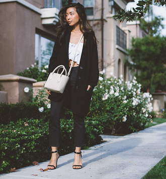 honey n silk blogger sandals black jeans knitted cardigan coat top jeans bag shoes