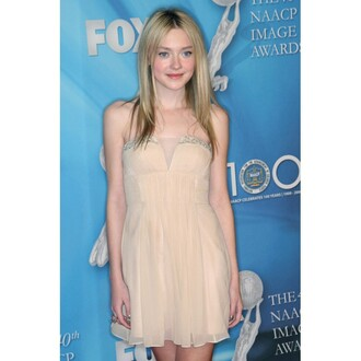 dress dakota fanning party dress champagne dress