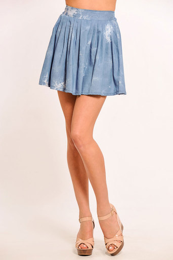 Ladies Bailey Tie Dye Denim Skirt | Pop Couture